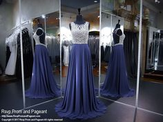 Navy Beaded High Neck A-Line Prom Dress