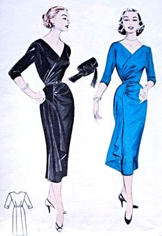 1950s Chic Sophisticated Evening Cocktail Dress Pattern Butterick 6709 Surplice Bodice Low V Neckline Draped Slim Skirt Stunning Design Bust 34 Vintage Sewing Pattern FACTORY FOLDED