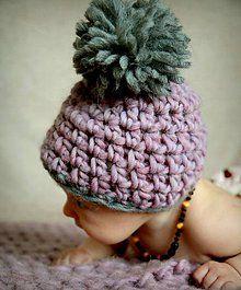 Detské čiapky - Čepička s bambulí růžovo šedá - 5009005_