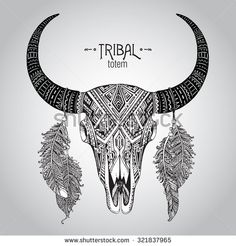 Hand drawn Vector illustration of bull skull with feathers. Ethnic indian ornament - stock vector
