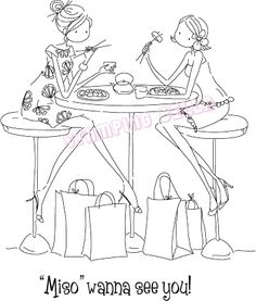 Stamping Bella Cling Rubber Stamp, Uptown Sushi Girls, As Shown Colouring Pages, Adult Coloring Pages, Coloring Books, Penny Black, Copics, Art Design, Digital Stamps, Magnolias, Line Drawing