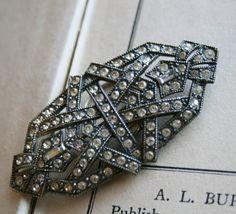 Vintage Art Deco Brooch - 1920s Jewelry Brooch - Paste Stones and Pot Metal