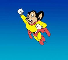 Ahhh, my hero! Mighty Mouse~one of my childhood faves! 70s Cartoons, Classic Cartoons, Cartoon Dog, Cartoon Characters, Fictional Characters, Mighty Mouse, Drawn Art, Saturday Morning Cartoons, Childhood Days