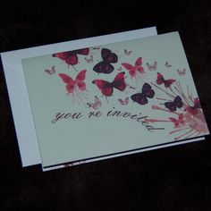 Personalised beautiful butterfly wedding stationery - folded invitation. £3.00, via Etsy.