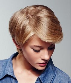 A Medium Blonde straight coloured multi-tonal side-parting womens haircut hairstyle by Intermede