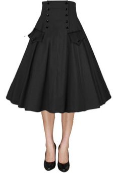 Button Front Full Skirt by Amber Middaugh