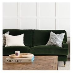 The Wiltshire #sofa from @cocorepublic is everything. The colour is I just wish it wasn't filled with feather down. #perfectsofa #velvet #green #englishrollarm #style #design #interiordesign