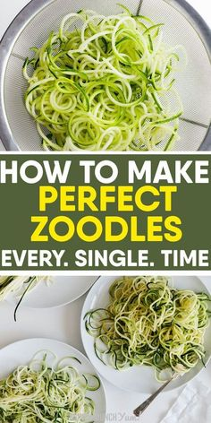 zucchini recipes Want to learn how to cook low carb ZUCCHINI NOODLES perfectly every time Get the best tips on how to make zoodles with or without a spiralizer, freezing noodles and easy, healthy recipes under 30 minutes. Zucchini Zoodles, Cook Zucchini Noodles, How To Cook Zucchini, Zucchini Noodle Recipes, Veggie Noodles, Vegetable Recipes, Zucchini Spaghetti, Zucchini Spirals Recipes, Squash Noodles