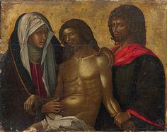 Ecole Vénéto-Crétoise vers 1500. Lamentation sur le corps du Christ, panneau de dévotion, fond d'or. Estimation 5000 / 7000€ - Vendu 49 400€ le 6 avril 2016