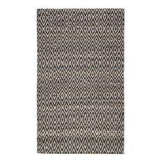 Mercury Row Pyrrhos Diamond Hand-Woven Black Area Rug