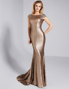 7edccbee Glamorous Sequin Lace Bateau Neckline Cap Sleeves Sheath / Column Evening  Dress With Beadings