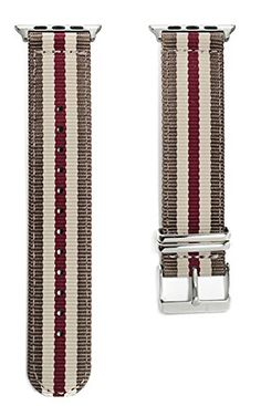 Apple Watch NATO Band - Khaki & Red Woven Nylon Band (42mm Silver). The original NATO strap designed for your smartwatch: Apple Watch, Android Wear & Pebble. Woven, double layered and heat sealed ballistic nylon - it comes with a Lifetime Warranty. Patent Pending design using quick-release pins.