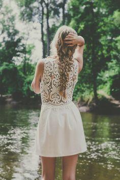 Bohemian White Crocheted Lace Dress