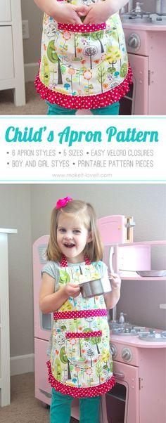 Ruffle Apron PDF Pattern (6 apron girl & boy styles, 5 sizes, easy Velcro closure, printable pattern pieces)   via Make It and Love It #iloverileyblake