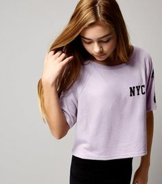 Teens Purple NYC 97 Print Crop Top