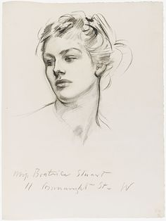 John Singer Sargent | Head Of A Woman (Beatrice Stuart) | Charcoal