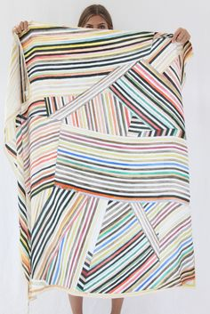Hui Hui Painted Stripes Silk Scarf