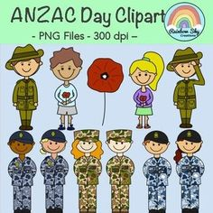 Anzac Day Clipart - 11 Graphics, colours and Black line originals. School Resources, Teaching Resources, Teaching Ideas, Primary Classroom, Primary School, Army Fatigue, Rainbow Sky, Anzac Day, Unit Plan