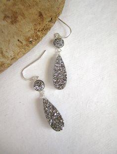 Silver Druzy Earrings Titanium Drusy Quartz by julianneblumlo, $118.00