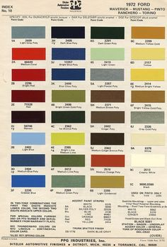 Vintage Ford Paint Chips - 1972