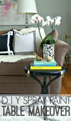 Spray Paint Table Makeover with Lion Ring Pull Hardware via Bliss at Home
