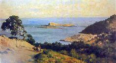 Antonio Ribas Oliver (Palma de Mallorca , 1845-1911) Bahía de Palma con rocas