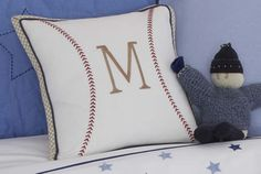 baseball decorative pillow for Roby's bedroom, with an R of course!