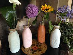 bottiglie  vetro Bormioli  colorate a mano