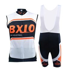 Men's White Sleeveless Cycling Jersey Set #Cycling #CyclingGear #CyclingJersey #CyclingJerseySet