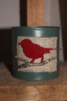 Upcycled Rustic Primitive Tin Can for gift holder or decoration. $5.00, via Etsy.