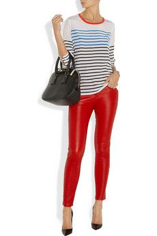 Red leather leggings and stripes #ohyeah