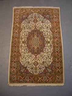 20% OFF SALE - 1980s Vintage, Hand-Knotted, Indo-Tabriz Rug. $103.20, via Etsy.