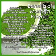 Moringa leaves are packed full of many nutrients the body needs, in a high bio-available food state. and provides the body with the nutrients it needs, while helping it to detoxify and get rid of unwanted elements.  The BEST Moringa around is made by Green Virgin Products!