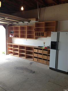 Garage - tons of shelving.