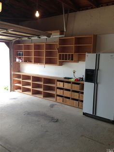 Garage - tons of shelving.