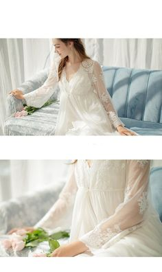Women's Lace Robe Long Embroidery Slip Sleepwear for Bride – omymarts Calf Sleeve, Night Dress For Women, Lace Patterns, Ladies Dress Design, Cotton Dresses, Silk Dress, White Lace, Prom Dresses, Gowns