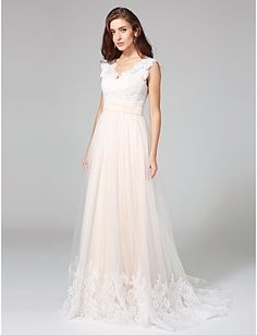 A-Line V Neck Sweep / Brush Train Lace Over Tulle Custom Wedding Dresses with Buttons Sash / Ribbon by LAN TING BRIDE®