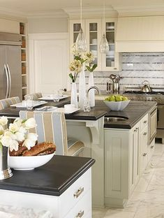 like the backsplash and mixture of colors used in this classic #kitchen
