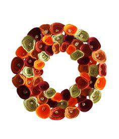 Fall Autumn Rose Wreath, Autumn wreath, Fall decor, autumnal colours,12 inch wreath, felt roses