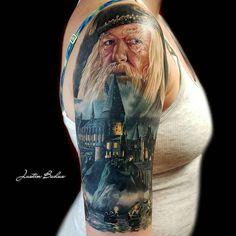 Healed Harry Potter Tattoo by @artofbuduo at Studio 31 Tattoos in Worcester Massachusetts. #harrypottertattoo #harrypotter #dumbledore #artofbuduo #studio31tattoos #worcester #massachusetts #tattoo #tattoos #tattoosnob