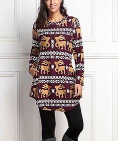 Burgundy & Gold Reindeer Side-Pocket Tunic - Plus Too