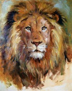 "Daily Paintworks - ""Lion"" - Original Fine Art for Sale - © Teresa Yoo - Kunst: Tiere - Animals in Art - Katzen / Cat Animal Paintings, Animal Drawings, Art Drawings, Watercolor Animals, Watercolor Paintings, Watercolor Lion, Watercolor Ideas, Watercolours, Art Prophétique"