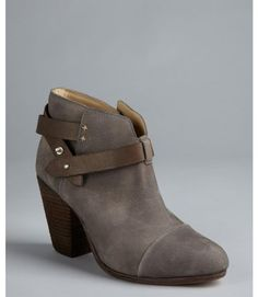 grey ankle boots for women | ... Grey Nubuck Leather Harrow Strapped Ankle Boots in Gray (grey) - Lyst