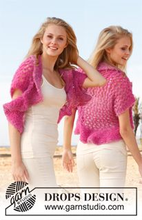 """Knitted DROPS shoulder piece with lace pattern in """"Verdi"""". Size: S - XXXL. ~ DROPS Design"""