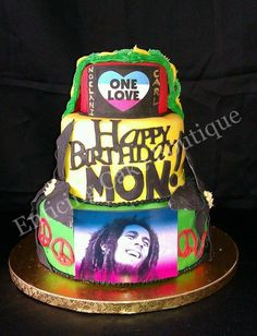 bob marley birthday cake with beanie dreads cap in the back of birthday cake