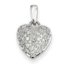 Genuine IceCarats Designer Jewelry Gift 14K White Gold Aa Quality Completed Diamond #Vintage #Heart #Pendant In 14K White Gold   beauty.techreports.us