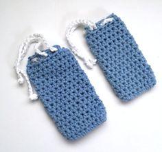 Set of 2 Handmade Crochet Cotton Soap Bags Blue Soapsaver Drawstring Pouch Washcloth @amazon