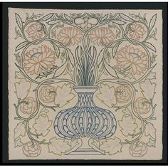 Flowerpot embroidered picture. May Morris embroidered this piece. She was William Morris's youngest daughter and manager of the embroidery section of Morris & Co