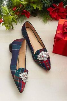 Plaid Embellished Flats Flats Cato Fashions