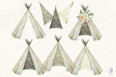 Watercolor teepee, flowers Vol.4 by GrafikBoutique on Creative Market